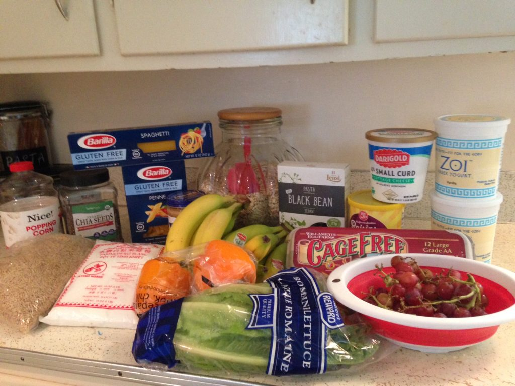 Healthy gluten free pasta with fruit and veggies.